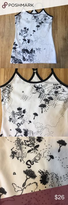 LULULEMON Black and White Tank Top Cute LULULEMON black and white tank top with insect and flower designs. No tag but it is a Small or 4. lululemon athletica Tops Tank Tops
