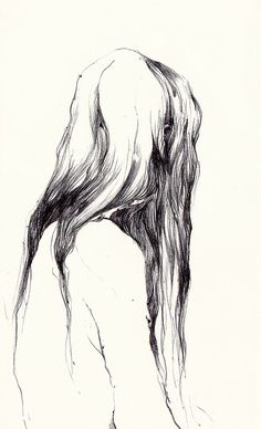 this is a very cool way to draw hair, as opposed to lots of lines up top or throughout, just at the bottom.  like it.