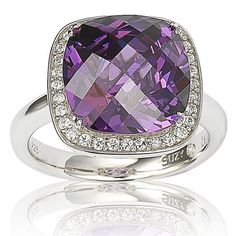 Suzy Levian Sterling Silver Purple and White Cubic Zirconia Halo Ring (Size 8.5), Women's