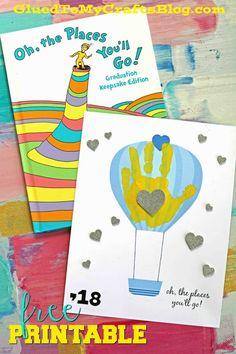 The Places You'll Go - Handprint Keepsake Idea - Handprint Hot Air Balloon - Free Printable Template - Dr Seuss Kid Craft Inspired #gluedtomycrafts