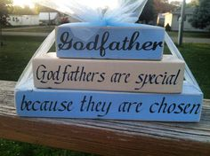Godfather godparents baptism christening church mini stacker wood block set personalized with saying of choice on Etsy, $10.95