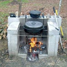 I love this quick, easy fireplace and camp stove setup!