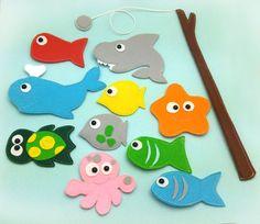 Juego de pesca magnético imán de niños pesca Set Eco por Helgamade