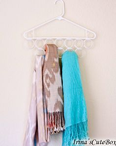 Make a scarf organizer with $ Store supplies with tutorial.  AND 45 of the BEST Home Organizational & Household Tips, Tricks & Tutorials with their links!! Party and event prep, too! from MrsPollyRogers.com