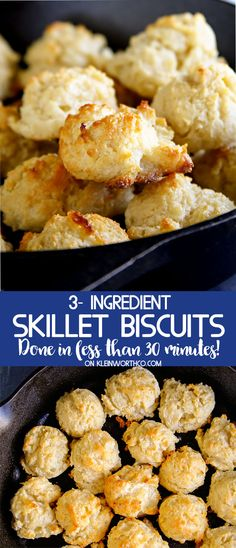 3-Ingredient Skillet Biscuits are great with dinner. With just 3 simple ingredients I always have on hand these biscuits whip together in less than 30 minutes. via @KleinworthCo #biscuits #skillet