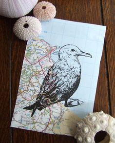 Seagull Print Black Winged Gull Map Bird Gocco Print