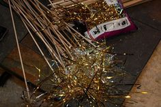 Alternative to rice or bubbles, DIY tinsel wands! Looks like sparklers, but much safer!