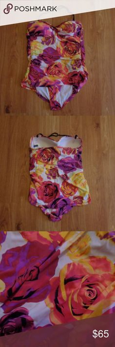 """JANTZEN *PERFECT CONDITION!* Swimsuit Size 16 Lovely, figure flattering one piece swimsuit with removable halter strap (can be worn completely strapless) in a size 16. Only worn once because my daughter said it was """"too girly"""" for her! Vibrant, feminine floral print.  From a smoke free home.  Check out my other listings! I love to give discounts for bundles!!! Jantzen Swim One Pieces"""