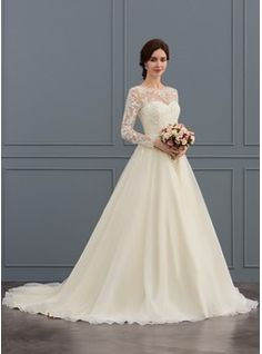 236.50  Ball-Gown Princess Illusion Court Train Tulle Lace Wedding Dress  With Beading Sequins (002127259) 8a082a62b282
