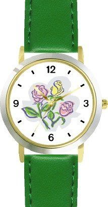 Pastel Pink and Yellow Rose Flowers - WATCHBUDDY® DELUXE TWO-TONE THEME WATCH - Arabic Numbers - Green Leather Strap-Children's Size-Small ( Boy's Size & Girl's Size ) WatchBuddy. $49.95