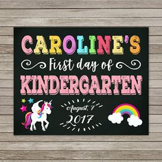 First Day of Kindergarten Chalkboard First Day of School