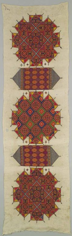 Embroidered panel from Morocco | ca. 1880 | Linen and silk | One of the rarest and finest examples of Moroccan embroidery, this wall hanging (arid) displays the most remarkable achievement of a Chefchaouene needlewoman's skills.