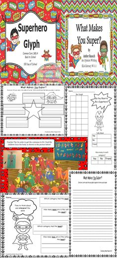 """This math and writing pairing offers the math lesson and the writing prompt that complements it for the same price as the math lesson alone. You get the writing prompt and graphic organizer for free!!! What child doesn't want to be a superhero? This engaging glyph will be a great addition to your """"All About Me"""" theme this fall or a compliment for """"Zero the Hero"""" activities and """"100th Day"""" theme.$"""