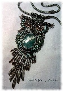 I so want this owl. Seriously--this bead embroiderer is awesomely talented.