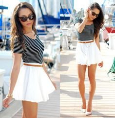 Striped Tee, White flowy skirt with a skinny belt, Very Cute date outfit.