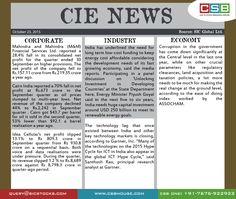 CIE News Highlights: • #Wipro posted #netprofit of Rs 2,235 crore up 7.2% on a year‐on‐year basis for the quarter ended September 2015. The firm's revenue (including its hardware business) at Rs 12,510 crore was up 7% on a year‐on‐year basis.
