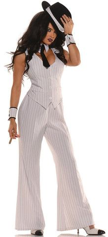 This costume includes a white pin-striped button front sleeveless vest with matching bell bottom pants, wrist cuffs, collar with attached tie and hatband. Does not include cigar, hat or shoes.