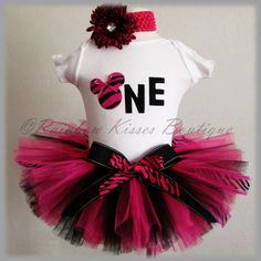 1st Birthday Zebra Minnie Mouse Inspired Tutu Set/outfit With Matching Headband