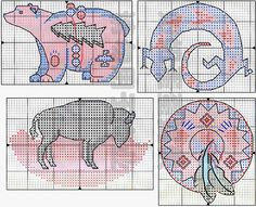 free cross stitch pattern - Native Spirit 4; bear, bison, lizard, feather shield