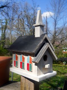 Birdhouse. 2 nest church,folk art primitives. Painted rustic bird house