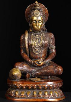 "View the Meditating Hanuman Statue 15"""