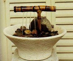 Decorative Water Fountain, Bamboo Fountain, Diy Water Fountain, Tabletop Water Fountain, Water Garden, Homemade Water Fountains, Indoor Water Fountains, Small Fountains, Indoor Fountain