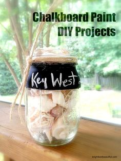 DIY Projects: Beach in a Bottle keepsake using chalkboard paint, mason jar and shells. Easy DIY projects. What to do with shells you collected on vacation.