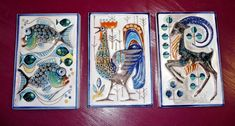 Wandfliesen Tonfliesen 3er Set Widder Fische Hahn Handarbeit gemarkt Keramik Hahn, Painting, Pisces, Animales, Moorish, Wall And Floor Tiles, Aries, Painting Art, Paintings