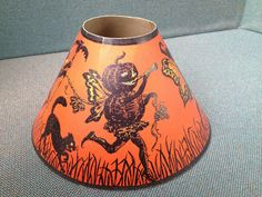 Vintage Halloween Ephemera ~ Jack O' Lantern Fairy & Black Cat Lamp Shade by Beistle