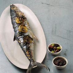 Grilled Whole Mackerel with Lemon, Oregano, and Olives