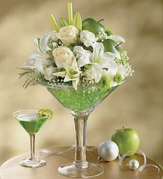 Wine glass flower bouquet | Apple Martini, Margarita, and a Glass of Beer:)