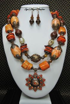Western Cowgirl Statement Necklace / Orange Necklace / Chunky Gemstone / Concho Pendant Necklace / Chunky Jewelry - AuTuMN SuNSeTs