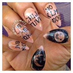 I'm guessing it's ouija board inspired nails ❤ liked on Polyvore featuring beauty products and nail care