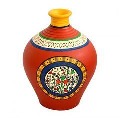 ExclusiveLane Terracotta Handpainted Warli Vase Matki Neck Red 6 Inch - Vase by ExclusiveLane for Beeja