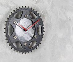 Custom made clock, custom gift, sprocket wall clock, motorcycle clock, motorcycle gift, biker gift, industrial wall clock, gift for him