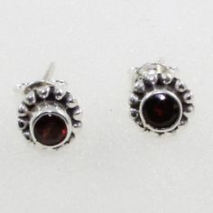 GARNET STONE LIGHT WEIGHTED 925 STERLING SILVER STUDS #SilvexImagesIndiaPvtLtd #Stud
