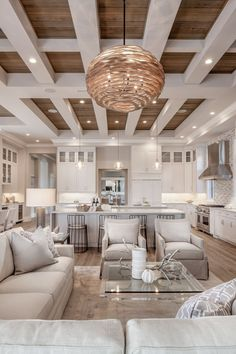 Living Room Kitchen, Home Living Room, Living Room Designs, Living Room Decor, Cozy Kitchen, Living Room Interior, Kitchen Ideas, Bedroom Designs, Dining Rooms