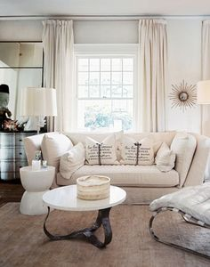 neutral living room. Love the couch