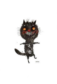 The dancing black cat original painting by ozozo by ozozo on Etsy, €40.00