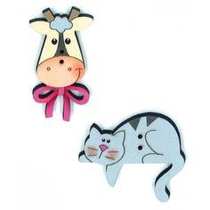 Botão Vaca e Gato