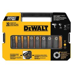 Dewalt DW22812 10 Piece 1/2 in. Drive Impact Ready Socket Set Made of high impact resistant material to give overall durability to the case