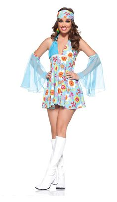 Sexy Free Spirit Womens Costume Do whatever your little heart desires in the Adult Sexy Free Spirit Costume. The were known for the hippie style of dress, exp 1960s Costumes, 70s Costume, Costume Shop, Costume Dress, Abba Costumes, Disco Costume, Flower Power Outfit, Hippie Outfits, 70s Fashion