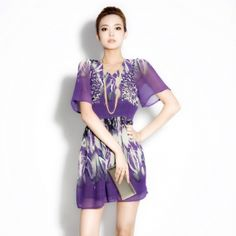 : $58.00  2013 spring new brand ladies' counters authentic elegant short-sleeved v-neck printed chiffon dress summer the female main