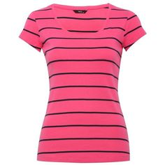 Scoop neck stripe t-shirt ($6.87) ❤ liked on Polyvore featuring tops, t-shirts, shirts, striped tee, tee-shirt, stripe shirt, pink shirt and pink tee