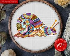Mandala Snail Cross Stitch Pattern for Instant Download - 296| Lovely Cross Stitch| Room Decor| Needlecraft Pattern| Easy Cross Stitch