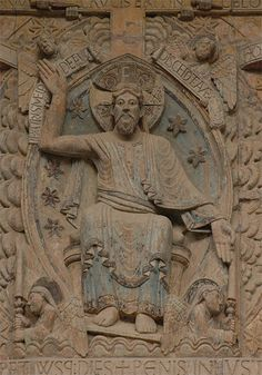 On The Origin of Ὁ ὬΝ in The Halo of Christ – Orthodox Arts Journal. Christ Pantocrator in the Tympan the Church, Conques, France, Century. Zoom, Cruciform Halo : REX [and] JUDEX European History, Art History, Christ Pantocrator, Romanesque Art, Images Of Christ, High Middle Ages, Carolingian, Christian Images, Book Of Kells