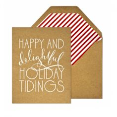 Holiday Greetings with stripes and handletterng type #typography #kraft #stationery