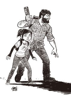 """""""The Last of Us -Cameron Stewart -spectacular illustrator, wonderful mix of black and white control and crosshatching shading  and cartooning mastery"""""""