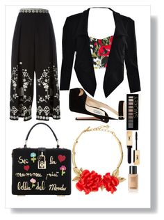 """""""Flower in black"""" by cindyveronica on Polyvore featuring Dolce&Gabbana, Temperley London, Prada, Oscar de la Renta and Forever 21"""