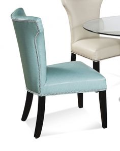 Nelson Shaped Nailhead Parson Dining Side Chair - Turquoise Leather | Bassett Mirror Company | Home Gallery Stores